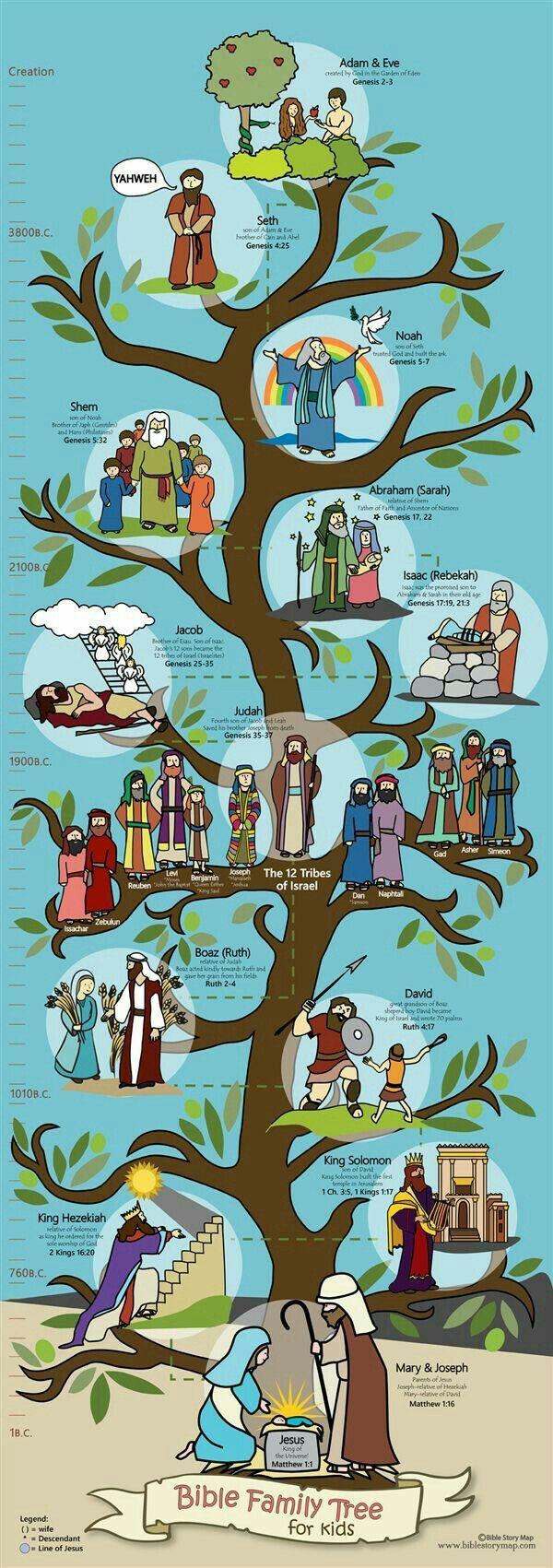 árbol genealógico de jesús para niños