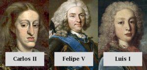 Carlos II, Felipe V y Luis I